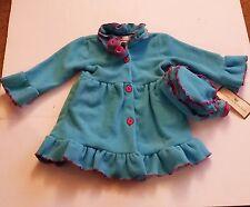 American Widgeon Girls Flower Ruffle Button Jacket Hat Fleece Blue Size 3 4 6
