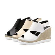Fashion Womens Platform Wedge Heels Peep Toe Slingbacks Sandals Casual Shoes