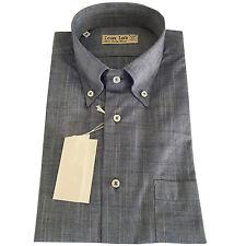 ICON LAB 1961 camicia uomo mezza manica bluchiar fiammata 100%cotone regular fit