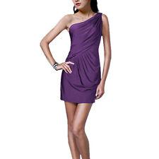 Fashion Draped One shoulder Jersey Cocktail Mini Dress Club Party Wear Purple