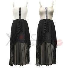WOMENS LADIES ZIP BRA TOP CHIFFON PLEAT SKIRT DRESSES TAIL BACK MAXI DRESS LONG