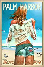 Palm Harbor Florida New Beach Poster Pin Up Jeans Shorts Seagulls Art Print 267-