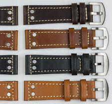 Genuino Cuero Calidad Grueso Resistente reloj banda correa 18mm-24mm Negro Marrón Tostado
