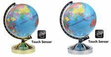 32cm Illuminated World Globe 4 Way Touch Control Lamp Light-Chrome/Gold