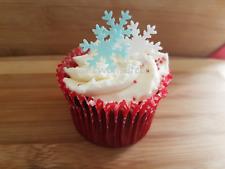 24 EDIBLE SNOWFLAKE CUPCAKE CAKE TOPPER CHRISTMAS DECORATIONS PRECUT FLAVOURED