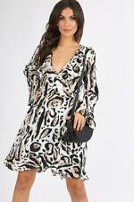 Womens Leopard Animal Print Flute Sleeve Wrap Midi Frill Dress
