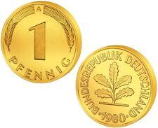 1 Pfennig - Glückspfennig - Goldmünze - vergoldet - Geburtstag / Gold DM Mark
