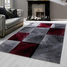 Modern designer Teppich für Wohnzimmer kariert Vintage  Rot Weis 8003