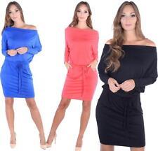 Kleid Knielang mit Bindegürtel Langarm in 4 Farben, Gr. S M L XL 2XL 3XL, 8233