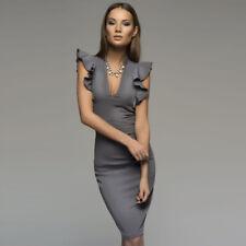 Fashion Women's V Neck Ruffle Sleeve Solid Color Bodycon Pencil Midi OL Dress