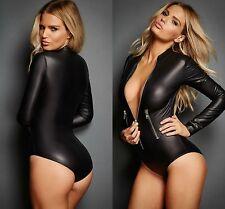 Ladies Long Sleeve Black Leathery Zip Bodysuit Playsuit Jumpsuit Size 10 12 14