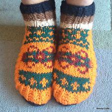 Nepalese Hand Knitted 100% Woollen Warm Unisex Orange Green Socks Room Bed Shoes