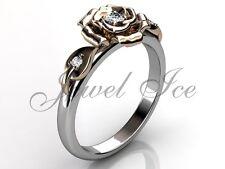 14k White and Rose Gold Diamond Leaf and Vine Flower Engagement Ring ER-1115-5