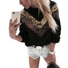 Leopard Chic Women Long Sleeve Sequins Stitching Autumn Fashion Sweatshirt #Cu3