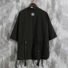 Men Cotton Line Coats Cardigan Kimono Jackets Loose Oversized Chinese Style