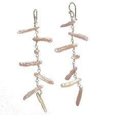 Anguilla 090 ~Pink Biwa Pearl Linked Earrings with Metal Choice