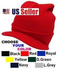 Brand  New PLAIN VISOR BEANIE SKULL JEEP SNOWBOARD SKI CAP / HAT  Assorted Color