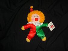 "Vintage Dakin Christmas Clown Doll Red Green Satin Clothes Hat Yarn Hair 8"""