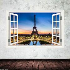Full Colour Parigi Torre Eiffel Muro ARTE Adesivo Trasferimento Decalcomania Stampa Grafica