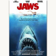 58273 Horror Classic Jaws Steven Spielberg FRAMED CANVAS PRINT AU