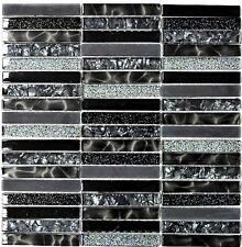 Mosaikfliese Stäbchen Crystal Glasmosaik Night black - Art: 87-STNB