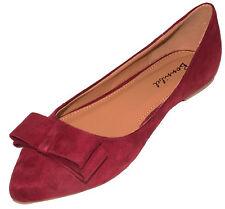 Bonnibel Women's Hetty-1 Faux Suede Pinty Toe Slip-on Ballet Flats