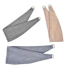 Plain Woven Curtain Tie Backs Pair Grey Natural Linen Sky Blue 26 Inch