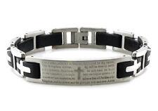 "Stainless Steel Lords Prayer ID Color Rubber Biker Mens Bracelet 8.5"""