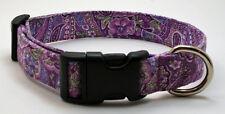 Purple Paisley Dog Collar Adjustable Handmade Custom Designer