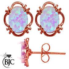 Bjc 9ct Oro Rosa Coltivata Opale Singolo Bottone Filigrana Orecchini a Perno