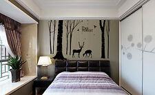 HUGE Tree Birds with Fallen Deer large Wall Stickers Home Decals UK 54