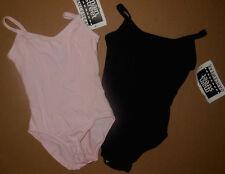 NEW CAMISOLE LEOTARD Cotton Spandex rounded v back Black or Pink child/ladies sz