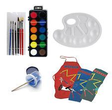 Set Schule Zeichnen Farbkasten Pinsel Wasserbox Bastelschürze Werkschürze