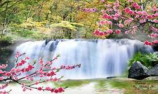 Beautiful Waterfall Flowe Full Wall Mural Large Print Decal Wallpaper Home Indor