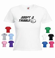 'Adopt a Tribble' Funny Ladies Girls Star Trek Captain Kirk Spock T-shirt Tee