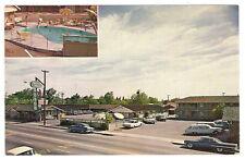 TOWN HOUSE MOTEL ~ 2 View Vintage Photo Adv PC ~ Stockton CA ~ 1960's Autos POOL
