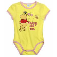 DISNEY BABY body  3 6 12 18 ou 24 mois WINNIE jaune manches courtes NEUF