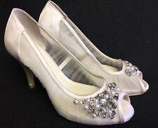 Menbur Kashia Size 36 Ivory Peep Toe Heels Shoes Embellished Pearls Rhinestones