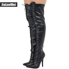 12 Cm Super Heel High Over Knee Boots Cross Strap Long Barrel 36-46 Size Boots