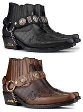 Bottines homme cuir véritable effet crocodile cowboy western talon cubain chaîne