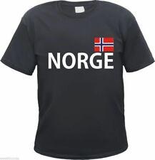 NORGE T-Shirt - Schwarz - Mit Flagge Druck - S bis 3XL - norwegen urlaub norway