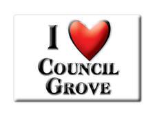 SOUVENIR USA - KANSAS FRIDGE MAGNET I LOVE COUNCIL GROVE (MORRIS COUNTY)