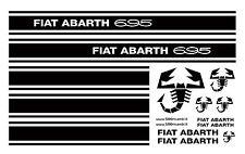 FIAT 500 F/L/R FASCE ADESIVI LATERALI PORTA SCRITTA ABARTH 695 SPORTIVE NERO
