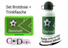 Brotdose Trinkflasche Pausenbox Lunchbox mit Namen Geschenk Schule Kiga Fußball