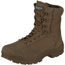 Mil-Tec Botas Lado Tácticas Zip Policía Combate Ejército Hombres Zapatos Marrón