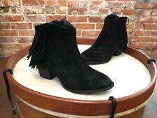 Marc Fisher Black Suede Fringe Sade Ankle Boots NEW
