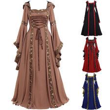 Womens Renaissance Victorian Medieval Long Bell Sleeves Hoodie Dresses Costume