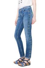Desigual Slim Blue Denim Aztec Embroidery Orense Jeans 28-34 RRP?104