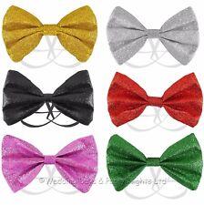 Glitter Bow Tie Dicky Bowtie Fancy Dress Mens Ladies Halloween Clown Xmas Prom