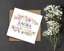 PERSONALISED pink white ROSE frame rustic flora wedding Bridesmaid proposal card